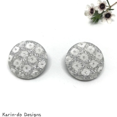 Silver (Shibori pattern) Kimono Button Earrings