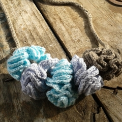 "knit and crochet necklace ""puffs"" made from bamboo fibre ON SALE!! 15% off"