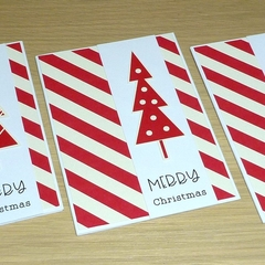 Set of 5 Christmas cards - red & white - early bird special!