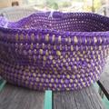 Crocheted bowl in purple and mustard yarn, handmade basket now ON SALE!!!!