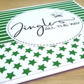 Modern Merry Christmas card - stars & stripes - red or green
