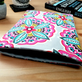Floral Pink Fabric Padded Book Sleeve