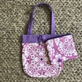 Pink and purple flowers handbag and purse