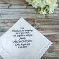 Wedding Handkerchief, Bridal Hanky, Bride Gift, Personalised Wedding Hanky