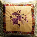 Autumn toned embroidered cushion cover, 14 inch square throw pillow, fall leaves