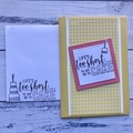 Yellow and strawberry pink Happy Birthday card