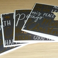 Set of 4 Modern Merry Christmas cards -  black and gold text