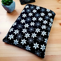 Travellers Book Protector Sleeve, Black and White Flowers Book Cover