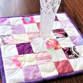 Quilted Patchwork Candle Mat, Table Topper,  scrappy pink, purple and white