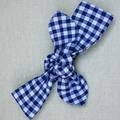 Cotton Headband - dark blue gingham check
