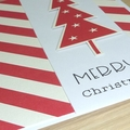 Set of 5 Christmas cards - red & white