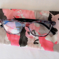 Quilted pink and grey unicorns eyeglass case, mobile phone case, sunglass pouch