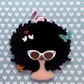 Big Hair Lady Acrylic Brooch