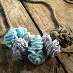"""knit and crochet necklace """"puffs"""" made from bamboo fibre ON SALE!! 15% off"""