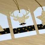 6 Merry Christmas gift tags - black and gold