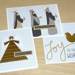 Set of 3 Christmas cards - Joy to the world