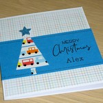 Personalised Kids Christmas card - blue or pink