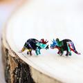 Kaleidoscope Triceratops Dinosaur Stud Earrings • Surgical Steel Earrings