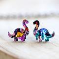 Kaleidoscope Brontosaurus Dinosaur Stud Earrings • Surgical Steel Earrings