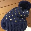 Knitted navy blue fair isle beanie, mustard beanie, beanie, slouchy hat mens