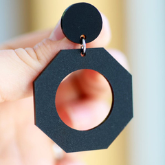 Matte Black Geometric Modern Statement Earrings • Surgical Steel