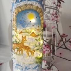 Festive deer Christmas bottle