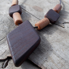 Necklace made from beads hand tooled from reclaimed hardwoods and cedar ON SALE!