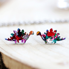 Kaleidoscope Stegosaurus Dinosaur Stud Earrings • Surgical Steel Earrings