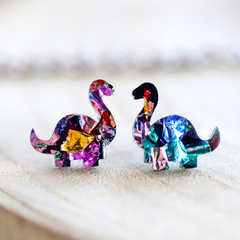 Kaleidoscope Brontosaurus Dinosaur Stud Earrings • Surgical Steel Earrings