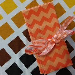Crochet Hook Handy Wrap-Orange Chevron Print