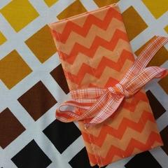 Crochet Hook Handy Wrap-Orange Chevron Print