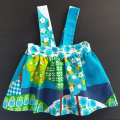 Girls Suspender Skirt with Fun Upcycled Fabric.
