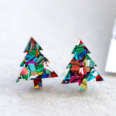 Christmas Tree Stud Earrings • Rainbow Glitter Acrylic Studs • Surgical Steel