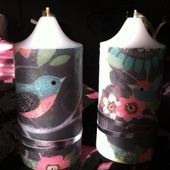 Birds pattern candles set of two