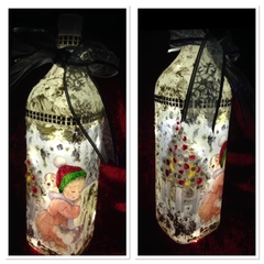 Christmas bottle with string lights