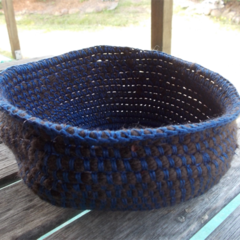Crocheted bowl made from brown and navy blue cotton yarns ON SALE!!!