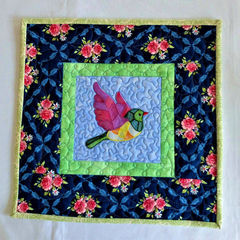 Patchwork embroidered bird, table topper, candle mat, floral mat, wall hanging