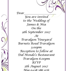 Purple Flourish print at home Invitation
