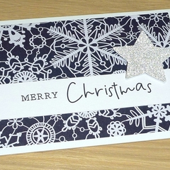 Merry Christmas card - navy snowflakes