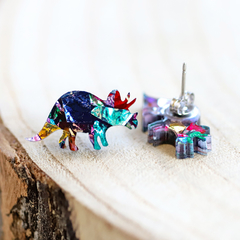 Kaleidoscope Triceratops Dinosaur Stud Earrings • Surgical Steel Earrings