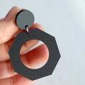 Matte Black Geometric Modern Statement Earrings • Surgical Steel
