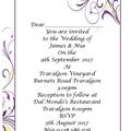 PURPLE FLOURISH WEDDING INVITATIONS