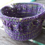 Ribbed basket crocheted from 100% cotton. purple, yellow and green ON SALE!!!