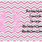 Pink and Grey Chevron print at home Baby ShowerInvitations