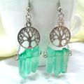 Silver Tree of Life and Green Quartz Earrings, Gemstone Earrings