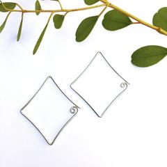 'Diamond' Tribal Swirl Range Drop Earrings, Handmade Recycled 925 SILVER