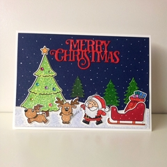 "Christmas 5""x7"" Card Santa, Reindeer and Sleigh - Handmade"