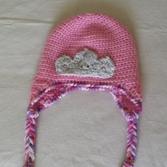 "Pink ""Princess""  earflap hat, beanie. Hand made crochet. Child 2-3yr"