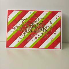 "Seasons Greetings 5""x7"" Card Gold Foil - White, Green and Red Washi - Handmade"