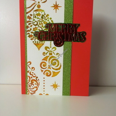 "Christmas 5""x7"" Card Ornaments Glitter - Handmade"